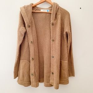 Anthropologie Sparrow Tan Hooded Cardigan Sweater
